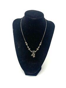 Brilliant Antique Art Deco Sterling Silver 925 Marcasite Design Necklace #1610