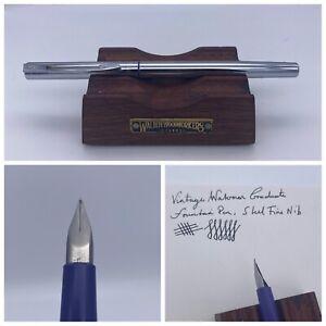 Vintage Waterman Graduate Fountain Pen Chrome Blue Trim Steel F Nib