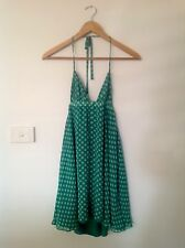 TIGERLILY Backless Green Silk Dress - Size 8