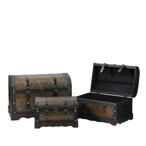 22.5 in. Decorative Antique Brown Wood and Faux Snakeskin Storage Boxes (Set of