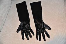"""GLOVE A - Satin evening gloves, One size, BN, 15"""", Black"""