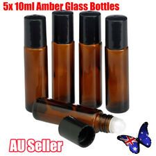 5x 10ml Amber Glass Bottles Roller Rollerball Perfume Essential Oil Roll on Ball