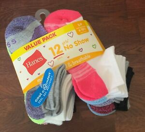 Hanes Girls' 12pk No Show Socks (12 Pack), Assorted, Size S, shoe 6-10.5