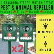 ULTRASONIC PEST REPELLER x2 POSSUMS PIGEONS SNAKES RODENTS RABBITS SOLAR OR USB