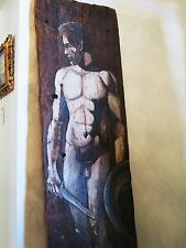 Life-size Nude Gladiator Man Art Original Painting on Rustic Old Wooden Plank