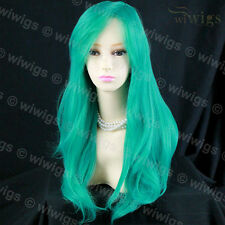 Wiwigs Animation Long Jade Green Wavy Layered Cosplay Skin Top Ladies Wig