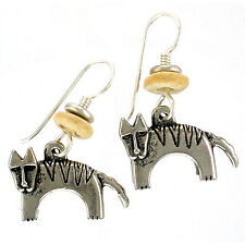 NEW! Laurel Burch DOG Antiqued Silver Over Lead Free Pewter Retired Earrings