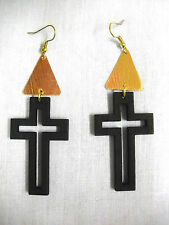 NEW BLACK WOODEN CROSS CUT OUT w GOLDTONE ACCENTS DANGLING FASHION WOOD EARRINGS