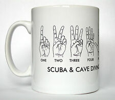 Scuba Divers Printed Mug with hand communication signals. Ideal for cavers scuba