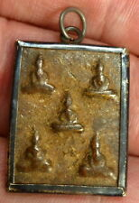 FIVE BUDDHA AMULET with TEMPLE CLOTH HAND CREATED BY JEWELLER IN NEPAL