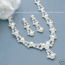 PEARL Necklace Set BRIDAL Wedding Bridesmaid Jewelry Prom CRYSTAL SILVER Sp #20