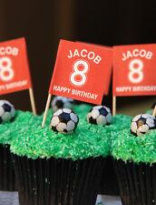 FOOTBALL CAKE TOPPERS - MAN U, LIVERPOOL COLOURS - 26 FOOTBALL CUPCAKE FLAGS