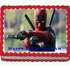 Deadpool Birthday Party Edible Cake Topper 1/4 frosting sheet