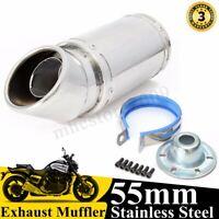55mm Universal GP Motorcycle Exhaust Muffler Pipe Street Bike Stainless Steel
