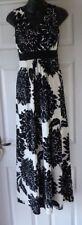 Monsoon Black Cream Large Floral Print Sleeveless Dress Size 8 VGC Bead Detail