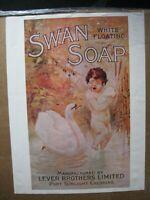 SWAN SOAP AD PRINT VINTAGE POSTER BAR GARAGE BATHROOM LEVER BROTHERS  CNG2186