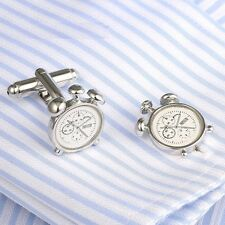 Novelty Alarm Clock Cufflinks Mens Shirt Suit Dress Wedding Business Cuff Links