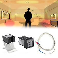 100 240vac Pid Rex C100 Temperature Controller Ssr 40a Thermocouple Heat Sink U9