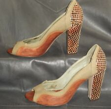 """Jeffrey Campbell """"Henna"""" leather & fabric open toe pumps Women's shoes size 7"""