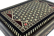 VINTAGE SYRIAN MOSAIC BOX w wood, mother of pearl & camel bone pieces