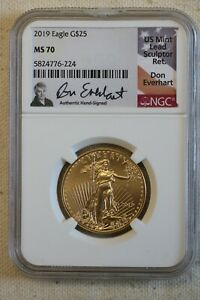 2019 GOLD $25 AMERICAN EAGLE Everhart SIGNED MS 70