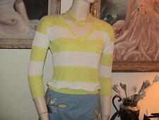 Caslon Nordstrom sheer linen/rayon sweater white neon citron yellow stripe XS