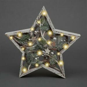Christmas White Wooden LED Star Frames Xmas Home Decorations Lights Up