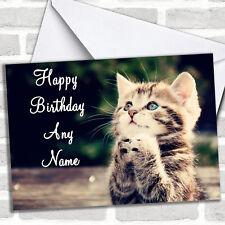 Funny Kitten Praying Birthday Customised Card