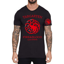 Game of Thrones Printed Black Men's Short Sleeve Pure Cotton T-Shirt Asia Size