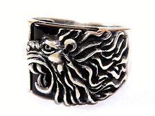 3D joyas turca de Cabeza de León 925 Sterling Silver Anillo de piedras preciosas de ónice Negro para Hombre