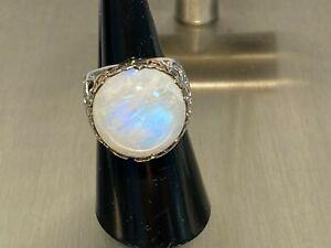 925 Silber Ring mit Riesen Mondstein weiß ca 16 mmt Ring Gr. 18 ca 10 Gramm