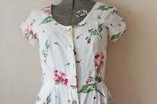 Vintage Floral Carol Anderson Flowers White Spring Cotton Long Flowy Dress