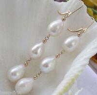 New Elegant Women's Earrings Fashion White Akoya Pearl 14k Gold Jewelry Earring