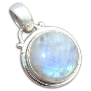 Solid 925 Sterling Silver Moonstone Gemstone Pendant Necklace Valentine Jewelry