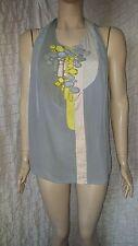 Rutzou Hodge Podge sleeveless 100% silk small checked top size 40