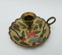 Brass Candle Holder Holly Leaf Bell Design Painted Holiday Christmas Brass VTG