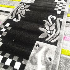 "QUALITY MODERN RUG 60x110cm (2'x3'7"") FLORAL BLACK/GREY/WHITE PACK OF TWO (2PCS)"