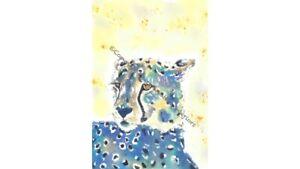 Cheetah Leopard Original Watercolour Print PenWash Illustration Wall Art Picture