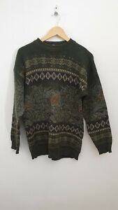 Nico Size M Olive Green Patterned Knit Casual Jumper - Vintage