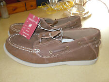 """NEW """" MERONA """" MARK MODEL BROWN LEATHER 2 EYE BOAT SHOES - SIZE 8 M"""