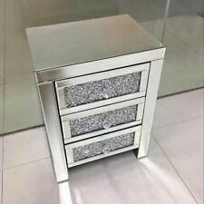Miroir en verre 3 tiroirs Diamante Cristal Cabinet Table Night Stands