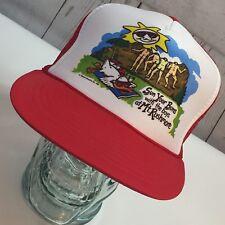 Vtg. Snap Back Mesh Funny Comical Mt. Rushmore Red White Trucker Hat Cap