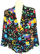 Limited Petites Womens Size 10P Blazer Rayon Black Blue Yellow Pink Accent