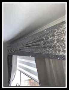 Silver Glitter Padded Window Pelmet with Grey Sash & Brooch