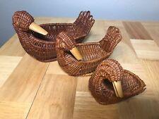 Vintage Set of 3 Nesting Woven Wicker Duck Baskets