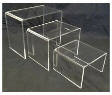 Acrylic Shoe And Merchandise Display Riser Set Of 3 One Each 6x6x4 8x6x6 10x6x8