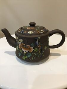 Antique Chinese Floral Handmade Clay Teapot Zisha Yixing Double Signed