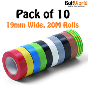 10 ROLLS ELECTRICAL PVC INSULATION / INSULATING TAPE 19mm x 20m FLAME RETARDANT