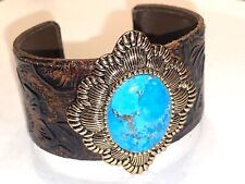 Barse Tooled Leather Turquoise Cuff Bracelet Excellent !!!!!