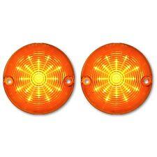 57 1957 Chevy Car Amber LED Park Parking Turn Signal Light Lamp Bulb Lenses Pair